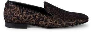 Roberto Cavalli Jacquard Leather Smoking Slippers