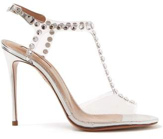Aquazzura Shine 105 Crystal Embellished Pvc Sandals - Womens - Silver