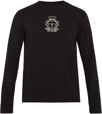 Dolce & Gabbana Crest-appliqué cotton-blend sweatshirt