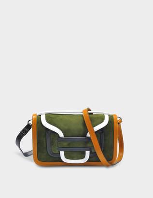 Pierre Hardy Alpha Crossbody Clutch Bag in Multi Khaki Suede and Calfskin