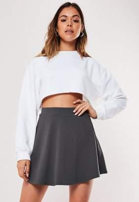 Missguided Petite Gray Basic Skater Mini Skirt