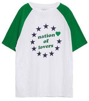Zoe Karssen Nation Of Lovers Printed Cotton And Linen-blend T-shirt