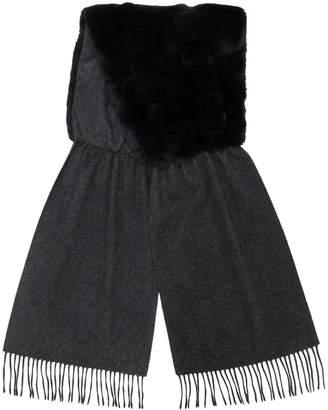 N.Peal contrast fur fringed scarf