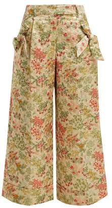 Simone Rocha Bow Trim Floral Brocade Trousers - Womens - Green Multi