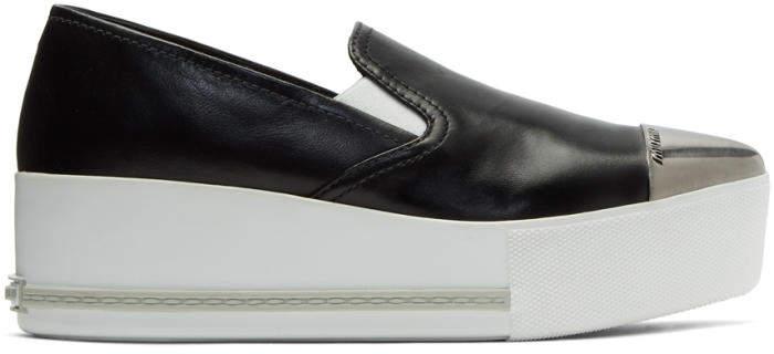 Miu Miu Black Cap Toe Platform Slip-On Sneakers