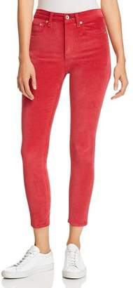 Rag & Bone High-Rise Velvet Cropped Skinny Jeans in Chili Pepper