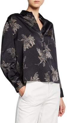 Vince Woodblock Floral Button-Front Blouse