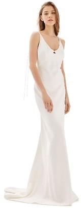 Women's Topshop Bride V-Neck Satin Sheath Gown $650 thestylecure.com
