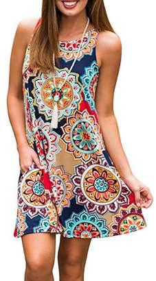 CAIYING Women Sleeveless Pocket Floral Printed Summer Casual Swing Midi Dress (, L)