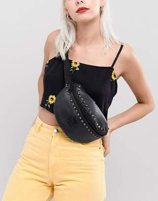 Spiral Studded Faux Leather Bum Bag