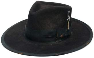 Nick Fouquet wide brim ribbon trim hat