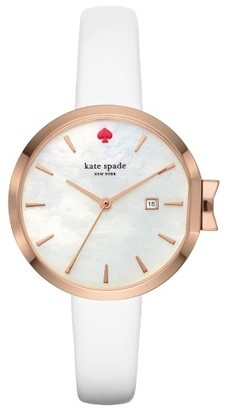 Women's Kate Spade New York Park Row Leather Strap Watch, 34Mm $195 thestylecure.com