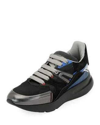 Alexander McQueen Men's Oversized Colorblock Runner Sneakers, Black Pattern