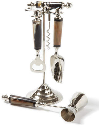 Twos Company Two's Company Two's Company Gstaad 4 Pc Horn Handle Bar Set with Stand Includes - Bottle Opener, Scoop, Cork Screw, Jigger