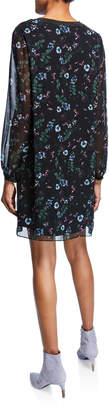 Kensie Winter Night Metallic-Trim Floral-Print Sheath Dress