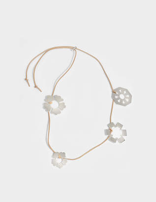 Tory Burch Geo Multi Necklace in Tory Silver Brass and Leather