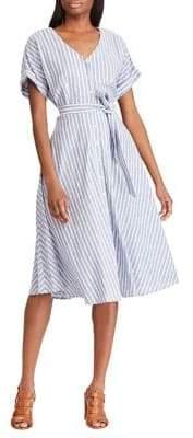 Chaps Striped Linen Cotton Blend Button-Front Dress