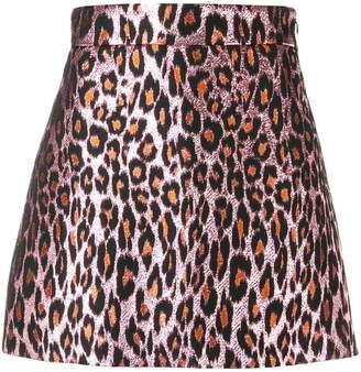 Miu Miu leopard brocade mini skirt