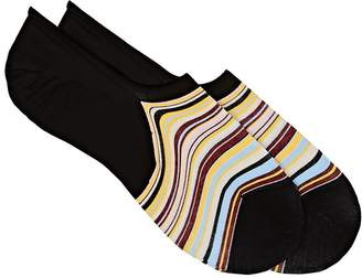 Paul Smith Men's Striped Stretch-Cotton No-Show Socks