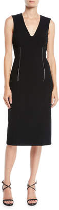 Jason Wu Sleeveless V-Neck Compact Crepe Knee-Length Day Dress