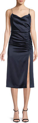 Alice + Olivia Dion Ruched Midi Slip Dress with Slit