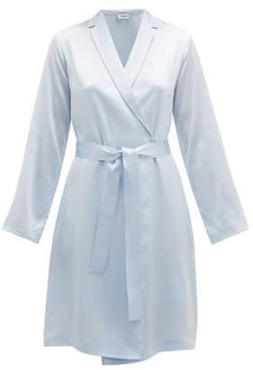 La Perla Tie Waist Silk Satin Robe - Womens - Blue