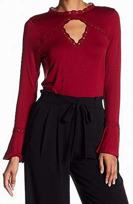 Adrianna Papell Women's Crew Neck With Lace Detail Modified Bell Long Sleeve