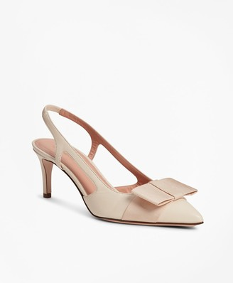 Brooks Brothers Grosgrain-Trimmed Leather Slingback Kitten-Heel Pumps