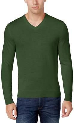 Club Room Mens Merino Wool Heathered Pullover Sweater Green L