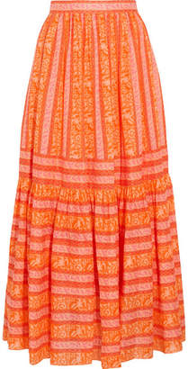 Tory Burch - Tiered Printed Cotton-poplin Maxi Skirt - Orange $295 thestylecure.com