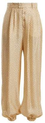 Gucci Mid Rise Polka Dot Print Silk Trousers - Womens - Ivory Multi