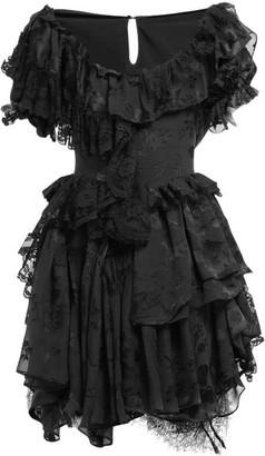 Preen by Thornton Bregazzi Leslie Silk Blend Devore Satin Mini Dress - Womens - Black