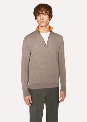 Paul Smith Men's Taupe Funnel Neck Merino Wool Half-Zip Sweater