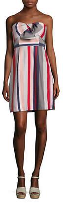 Sam Edelman Striped Bow Strapless Mini Dress