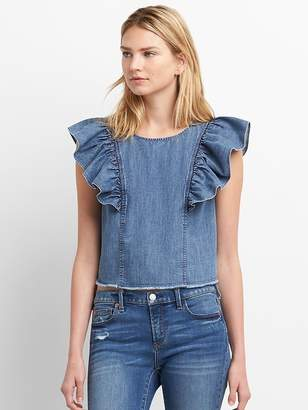 Gap Denim Ruffle Sleeve Top