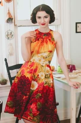Dahlia Retrolicious Sleeveless Floral Dress
