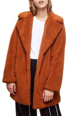 Miss Selfridge Three-Button Faux Fur Plush Teddy Coat