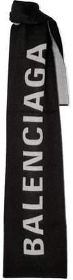 Balenciaga Frayed Wool-jacquard Scarf - Black