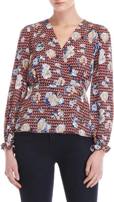Almost Famous Printed Long Sleeve Wrap Top