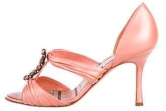 Manolo Blahnik Rhinestone Accents Leather Sandals