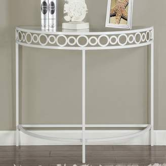 "Monarch Specialties Metal 36"" Hall Console Accent Table, White"
