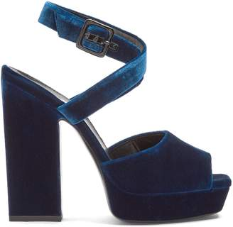Saint Laurent Debbie platform-heel velvet sandals