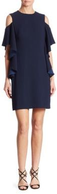 Trina Turk Lambada Ruffled Cold-Shoulder Dress $288 thestylecure.com