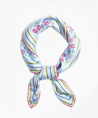 Brooks Brothers Floral-Print Silk Square Scarf