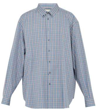 Gucci Piglet Embroidered Checked Cotton Overshirt - Mens - Blue