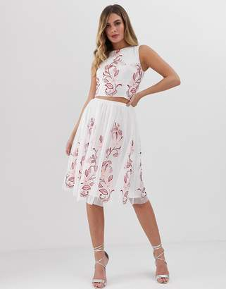 7cbf01dff5 Lace & Beads floral embroidered midi skirt two-piece