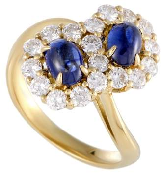 18K Yellow Gold with 1.00ct. Diamond and 1.37ct. Sapphire Flowers Ring Size 5.75