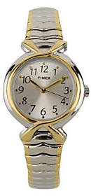 Timex Ladies Two-tone Expansion Band with Silvertone Dial $48 thestylecure.com