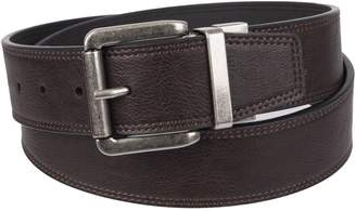 Weatherproof Men's Casual Reversible Belt with Rotated Buckle, Tan Black/Silver Buckle