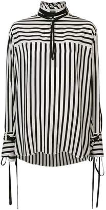 Derek Lam Long Sleeve Mandarin Collar Shirt with Ties